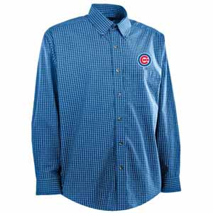Chicago Cubs Mens Esteem Check Pattern Button Down Dress Shirt (Team Color: Royal) - Large