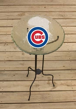 Chicago Cubs Glass Bird Bath