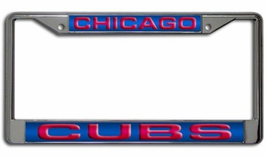 Chicago Cubs Laser Etched Chrome License Plate Frame
