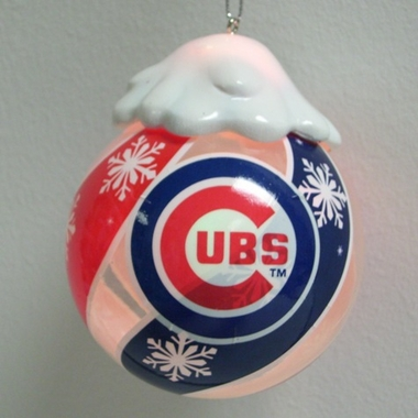 Chicago Cubs Light Up Glass Ball Ornament
