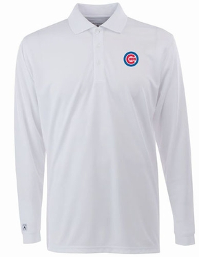 Chicago Cubs Mens Long Sleeve Polo Shirt (Color: White)