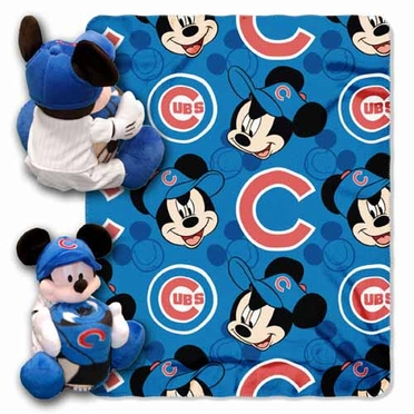 Chicago Cubs Mickey Mouse Pillow / Throw Combo