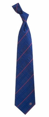 Chicago Cubs Oxford Stripe Woven Silk Necktie