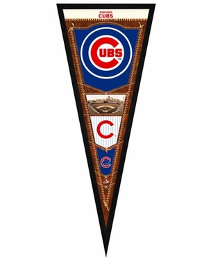 "Chicago Cubs Pennant Frame - 13""x33"" (No Glass)"
