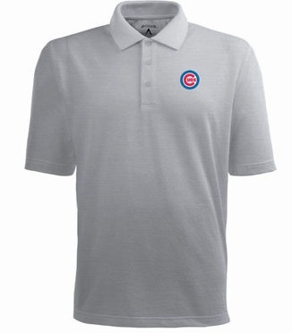Chicago Cubs Mens Pique Xtra Lite Polo Shirt (Color: Gray)