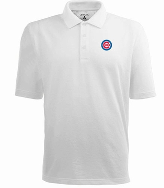 Chicago Cubs Mens Pique Xtra Lite Polo Shirt (Color: White)