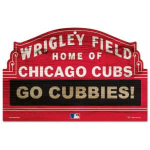 Chicago Cubs Red Stadium Wood Sign