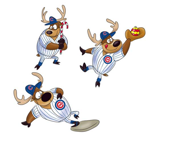 Team Sports America Chicago Cubs Reindeer Players Ornament (Set of 3)