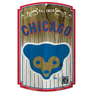 Chicago Cubs Retro Logo Wood Sign