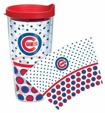 Chicago Cubs Set of TWO 24 oz. Tervis Wrap Tumblers w/ Lids