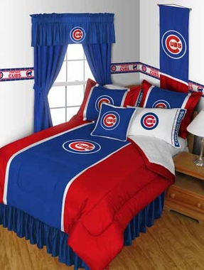 Chicago Cubs SIDELINES Jersey Material Comforter - Full / Queen