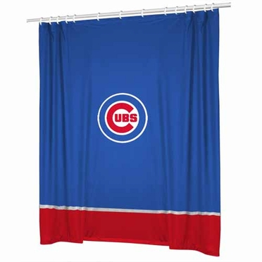 Chicago Cubs SIDELINES Jersey Material Shower Curtain