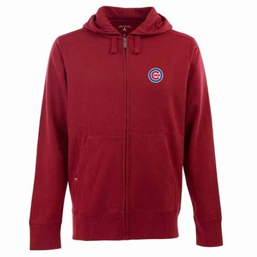 Chicago Cubs Mens Signature Full Zip Hooded Sweatshirt (Alternate Color: Red)