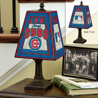 Chicago Cubs Small Art Glass Lamp