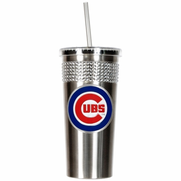 Chicago Cubs Stainless Steel Bling Tumbler with Straw