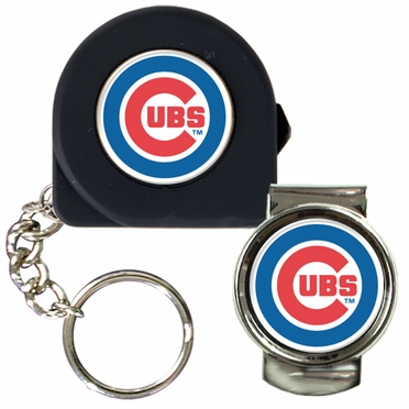 Chicago Cubs Tape Measure Key Chain and Money Clip Set