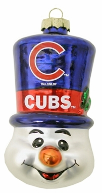 Chicago Cubs Tophat Snowman Glass Ornament