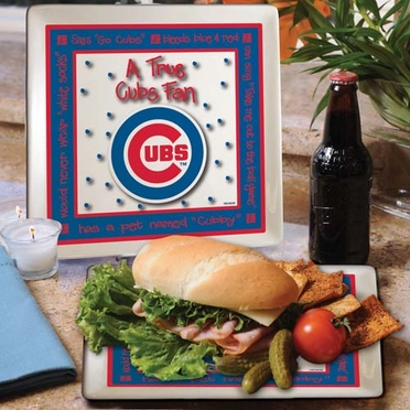 Chicago Cubs True Fan Square Plate