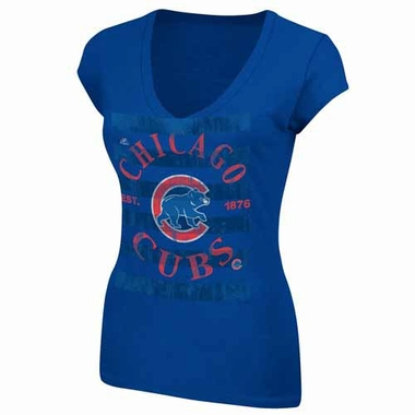 Chicago Cubs Womens Emotional Reaction V-Neck T-Shirt - Royal
