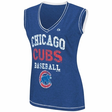 Chicago Cubs Womens My Crush V-Neck Fashion Top