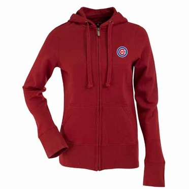 Chicago Cubs Womens Zip Front Hoody Sweatshirt (Alternate Color: Red)