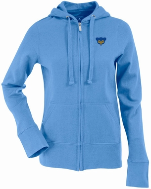 Chicago Cubs Womens Zip Front Hoody Sweatshirt (Cooperstown) (Team Color: Aqua)