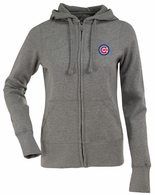 Chicago Cubs Womens Zip Front Hoody Sweatshirt (Color: Gray)