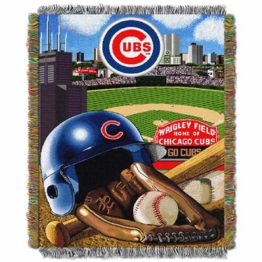 Chicago Cubs Woven Tapestry Blanket