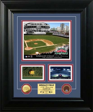 "Chicago Cubs Wrigley Field ""100th Anniversary"" Marquee Game Used Dirt Coin Photo Mint"