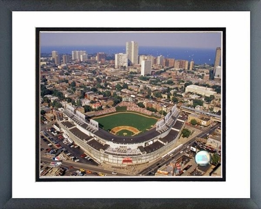 Chicago Cubs Wrigley Field aerial view 16x20 Framed and Double-Matted Photo