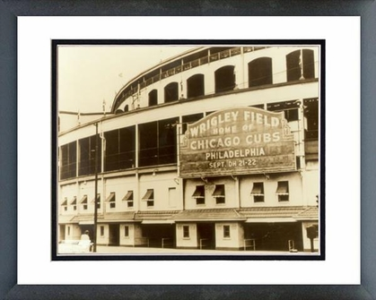 Chicago Cubs Wrigley Field - Outside/Sephia 16x20 Framed and Double-Matted Photo
