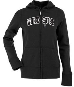 Chicago White Sox Applique Womens Zip Front Hoody Sweatshirt (Team Color: Black) - Large