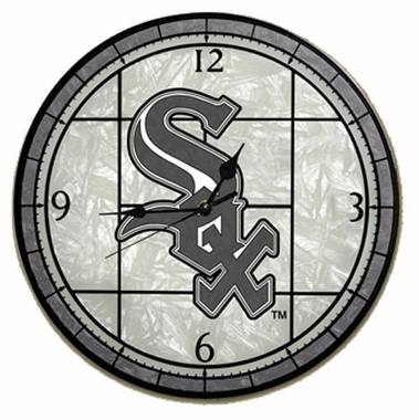 Chicago White Sox Art Glass Clock