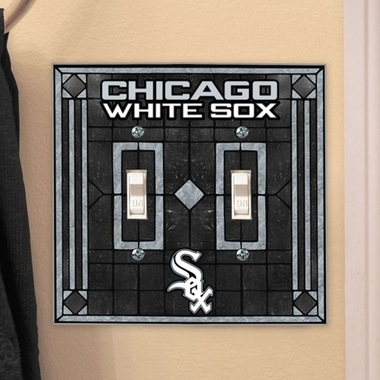 Chicago White Sox Art Glass Lightswitch Cover (Double)