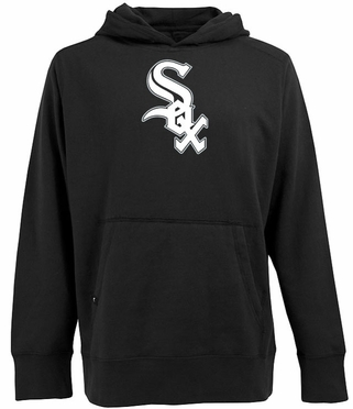 Chicago White Sox Big Logo Mens Signature Hooded Sweatshirt (Team Color: Black)