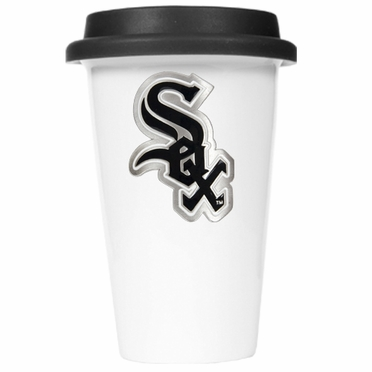 Chicago White Sox Ceramic Travel Cup (Black Lid)