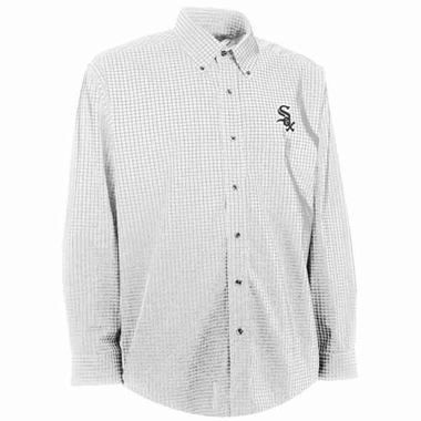 Chicago White Sox Mens Esteem Check Pattern Button Down Dress Shirt (Color: White)