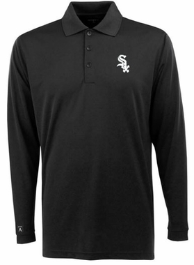 Chicago White Sox Mens Long Sleeve Polo Shirt (Team Color: Black)