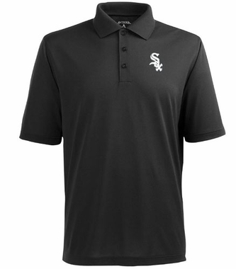 Chicago White Sox Mens Pique Xtra Lite Polo Shirt (Team Color: Black)