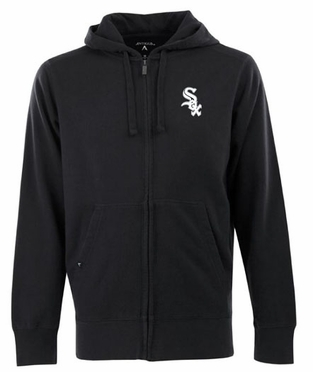 Chicago White Sox Mens Signature Full Zip Hooded Sweatshirt (Team Color: Black)