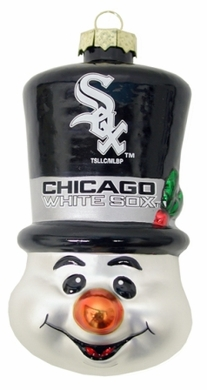 Chicago White Sox Tophat Snowman Glass Ornament