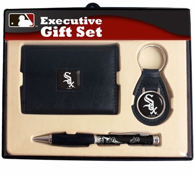 Chicago White Sox Trifold Wallet Key Fob and Pen Gift Set