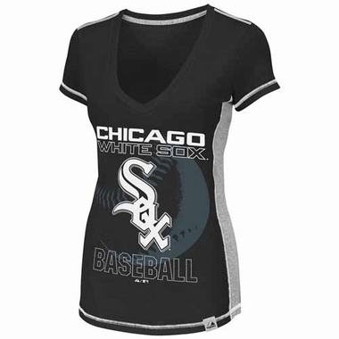 Chicago White Sox Womens Light Up The Stands V-neck Fashion Top Shirt - Black