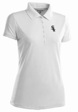 Chicago White Sox Womens Pique Xtra Lite Polo Shirt (Color: White) - X-Large