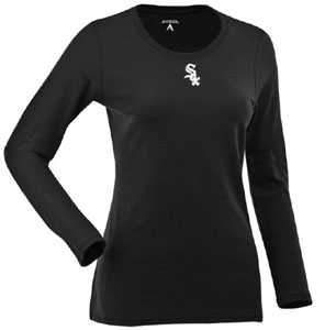 Chicago White Sox Womens Relax Long Sleeve Tee (Team Color: Black) - Medium