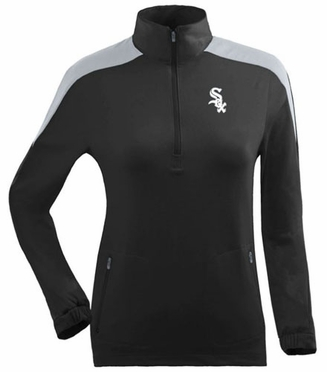 Chicago White Sox Womens Succeed 1/4 Zip Performance Pullover (Team Color: Black) - Large