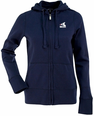 Chicago White Sox Womens Zip Front Hoody Sweatshirt (Cooperstown) (Color: Navy)