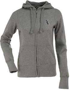 Chicago White Sox Womens Zip Front Hoody Sweatshirt (Color: Gray) - Large