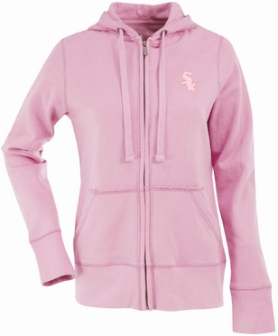Chicago White Sox Womens Zip Front Hoody Sweatshirt (Color: Pink)