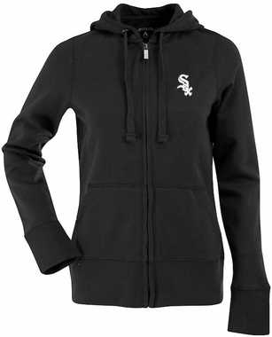 Chicago White Sox Womens Zip Front Hoody Sweatshirt (Team Color: Black)